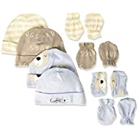 Gerber baby-boys 8-piece Organic Cap and Mitten Set baby-bibs - blue - New Born
