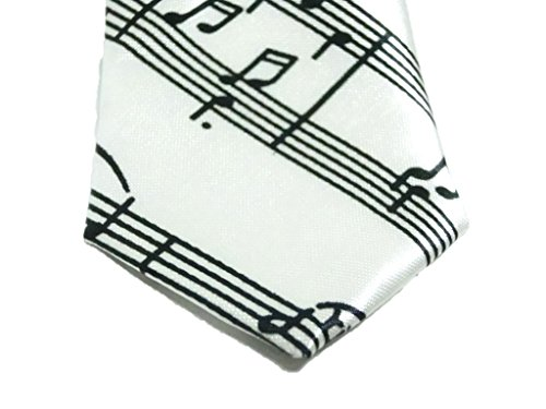 カジュアル 楽譜 ミュージック ネクタイ メンズ おしゃれ な 音符 ボーダー ドット ビジネス (ホワイト)