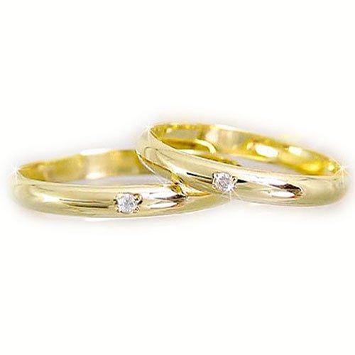 [アトラス] Atrus 結婚指輪 ペアリング カップル ダイヤモンド ダイヤ イエローゴールドk18 リング 指輪 k18 ハンドメイド 2本セット 甲丸