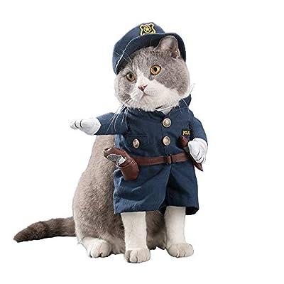 SEHOOペット服 コスプレ 可愛い 猫服 犬用 面白い コスチューム 警察 警察 騎士 ハロウィーン クリスマス 二足歩行(警察、XL)