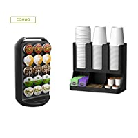 Mind Reader K-Cup Carousel and Coffee Condiment/Cup Organiser, Capacity 30 K-Cups, Black