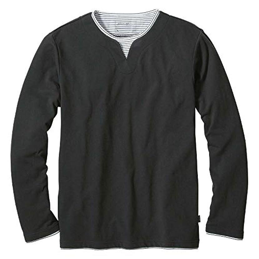 肉持ってるコピー(エディー?バウアー) Eddie Bauer メンズ 長袖Tシャツ 長袖ピケレイヤーキーネックTシャツ