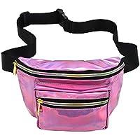 BaronHong Shiny Neon Fanny Bag for Women Rave Festival Hologram Bum Travel Waist Bag
