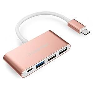 LENTION 3ポートUSB-Cハブ Type-C充電ポート搭載 全4色 USB3.0 端子不足を解消 New MacBook pro 13 & 15/ChromeBook Pixel対応 (ローズゴールド)