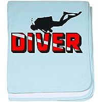 CafePress – Diver – スーパーソフトベビー毛布、新生児おくるみ ブルー 049578047525CD2