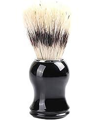 ひげブラシ 髭剃り メンズ シェービングブラシ 木製コム 毛髭ブラシバッガーヘア シェービングブラシ ポータブルひげ剃り美容(ナイロン)