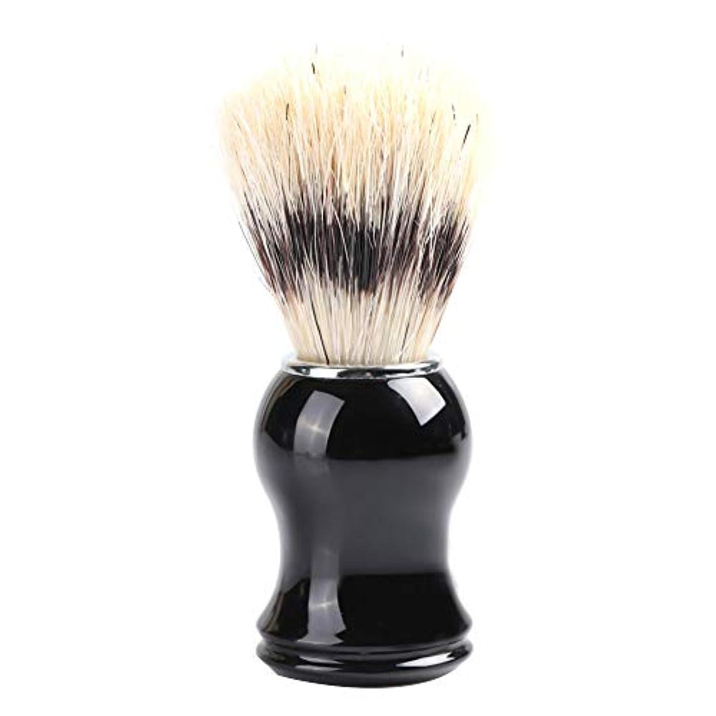 ハンカチ持続的蒸留ひげブラシ 髭剃り メンズ シェービングブラシ 木製コム 毛髭ブラシバッガーヘア シェービングブラシ ポータブルひげ剃り美容(ナイロン)