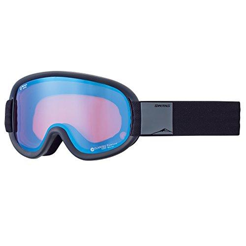 【国産ブランド】SWANS(スワンズ) スキー スノーボード ゴーグル プレミアムアンチフォグ搭載 ミラー偏光レンズ ブイフォー V4-MPDH-C-PAF MBK マットブラック/パステルブルーミラー×偏光ピンクレンズ