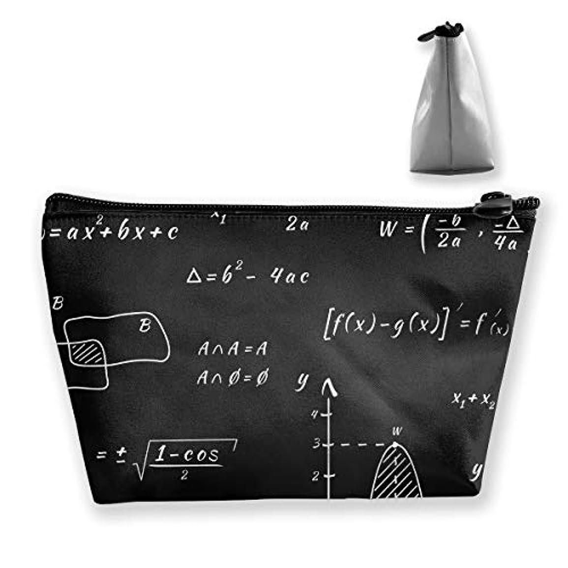 バイアス瞳代表して台形 レディース 化粧ポーチ トラベルポーチ 旅行 ハンドバッグ 数式プリント コスメ メイクポーチ コイン 鍵 小物入れ 化粧品 収納ケース