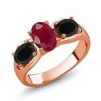 Gem Stone King 1.8カラット 天然 ルビー 天然 オニキス シルバー925 ピンクゴールドコーティング 指輪 リング