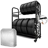 MEICHEPRO タイヤラック タイヤスタンド 2段式タイヤラッセット 8本タイヤ収納 耐荷重200kg幅111.5c…