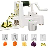 Spiralizer,Premium 5 Blade Zucchini and Vegetable Spiral Slicer,Heavy Duty Suction Base,Guaranteed! Specially made for Vege Based Diets.BONUS Cleaning Brush, Stainless Steel Blade Storage, Extra Suction cap. SIMPLEJOY. Enjoy Healthy
