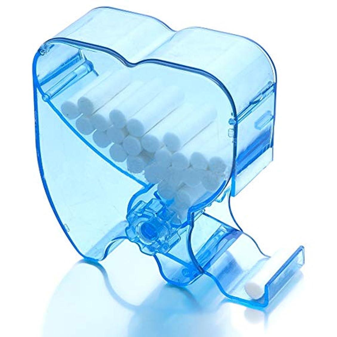 コジオスコかもめ予防接種歯科用 使い捨てコットンロールディスペンサーホルダー 綿棒ディスペンサー コットンロールボックス 収納ボックス プレス式 使用やすい 歯の形状 可愛い (ブルー)