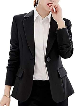 GALAXYONE レディース テーラード ジャケット ショート ブレザー オフィス 通勤 スーツ フォーマル 入学式 入園式 卒業式 エレガント 4色 (S, ブラック)