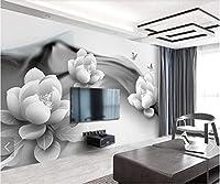 KAHSFA 3Dの壁紙 黒白睡蓮蝶壁画写真の壁紙テレビソファ背景壁紙ロールスロイスキャンバス花の壁の壁画-300cmx210cm