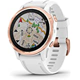 Garmin  fenix 6S Pro, Premium Multisport GPS Watch, Smaller-Sized, features Mapping, Music, Grade-Adjusted Pace Guidance and Pulse Ox Sensors, Rose Gold w/White Band ,Rose Gold (010-02159-12)