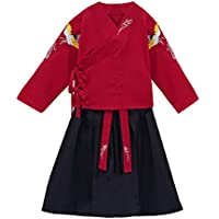XueXian Tang Suit Kids Chinese Traditional Tops and Skirt Set for Girls