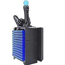 PlumRiver PS4 Slim 薄型 PRO プレステ スリム プロ 対応 縦置きスタンド 冷却ファン クーラー 搭載 コントローラー2台充電 ソフト収納ケース付き 周辺機器 【日本語説明書付き】【保証書付き】 【2017ver】ブラック