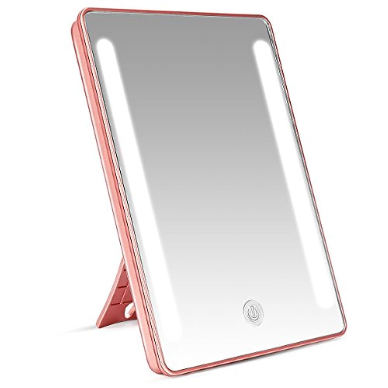 活気づく典型的な親密なLEEPWEI 鏡 卓上 化粧鏡 LEDライト付き 女優ミラー スタンド/壁掛け両用 卓上ミラー 明るさ調整可能 180度回転 USB/電池給電 新年プレゼント(ピンクゴールド)