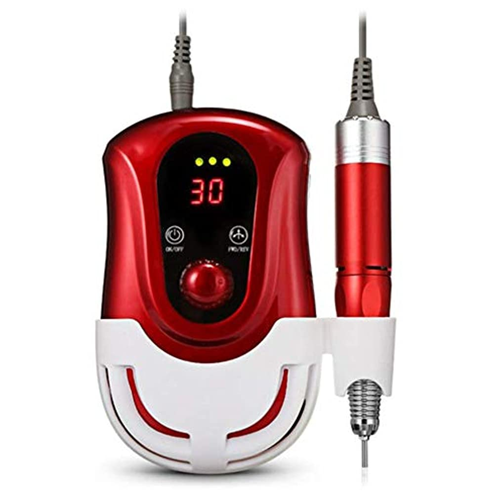 電動ネイルドリルマシン30000RPMカッターマニキュアペディキュアツール、アクセサリー専門職用研削ネイルアート機器キット,赤