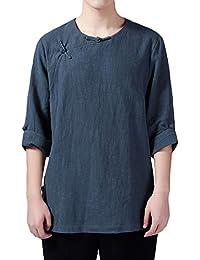 格子柄& Plainメンズカジュアル通気性襟なしリネン3/ 4Sleeve Frogボタンシャツ