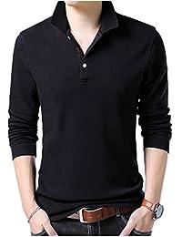 [ワン アンブ] ポロシャツ カットソー 長袖 シャツ トップス シンプル 無地 インナー M ~ XL メンズ