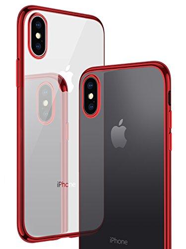 【CASEKOO】iPhone X ケース TPU透明 ソフト クリア メッキ加工 最軽量 超薄型 一体型 擦り傷防止 おしゃれ (iPhone X, レッド)