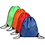 JUNFA Cinch Bags Drawstring Backpack Not See-Through Pull String Bag 1,4-Pack Football Pattern