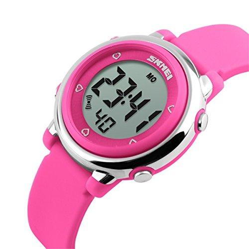 子供腕時計防水、ガールズ腕時計、デジタル表示キッズウォッチ、子供の日キッズガールズボーイズマルチ機能デジタルLEDアラームストップウォッチバックライト防水スポーツウォッチ