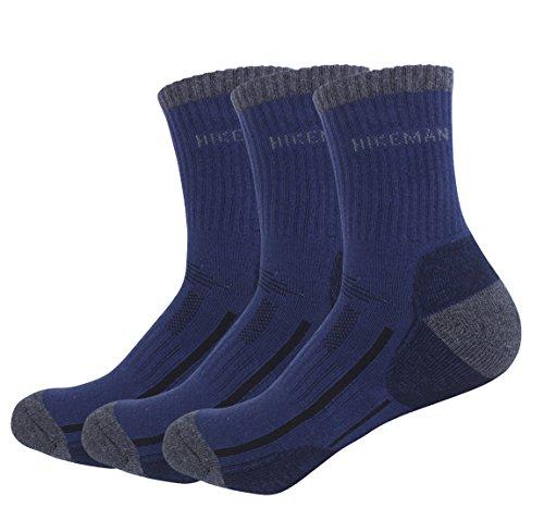 メンズ靴下 トレッキングソックス 吸汗 通気 防臭 スポーツソックス 3足セット (ネイビー3足)