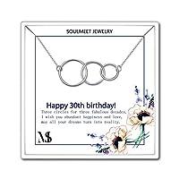 SOULMEET Happy 30th Birthday ネックレス S925 3連インフィニティサークル 3年間の素晴らしい