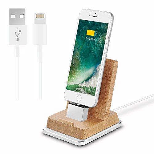 Rerii iPhone充電スタンド ipad 充電スタンド iPhone充電ドック タブレットスタンド スマホスタンド 充電ホルダー 竹製充電スタンド 角度調整可能 iPhone 7,7 Plus/iPhone SE/iPhone 6S Plus,6S,6 Plus,6/iPhone 5s, 5/Ipadなどに適用(ライトニングケーブル送付) (竹製)