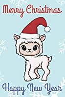 Merry Christmas Happy New Year: Chibi Kawaii White Little Lamb Wearing a Red Santa Hat with Snow Notebook Cover. Great Journal Gift or Stocking Stuffer for the Holidays