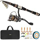 PLUSINNO Fishing Rod and Reel Combos - Carbon Fiber Telescopic Fishing Pole - Spinning Reel 12 +1 Shielded Bearings Stainless Steel BB