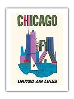 シカゴ, イリノイ州 - ユナイテッド航空 - ビンテージな航空会社のポスター c.1962 - プレミアム290gsmジークレーアートプリント - 30.5cm x 41cm