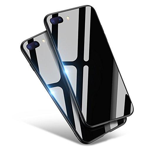 iPhone8 Plus ケース/iPhone7 Plus ケース, Aunote TPUと強化ガラスがジャストフィット 強化ガラスケース レンズ保護 耐衝撃 極薄 耐久 ハードケース Qi充電対応 アイフォン8プラス ケース/アイフォン7プラス ケース(iPhone8 プラス/iPhone7 プラス 用 ブラック)