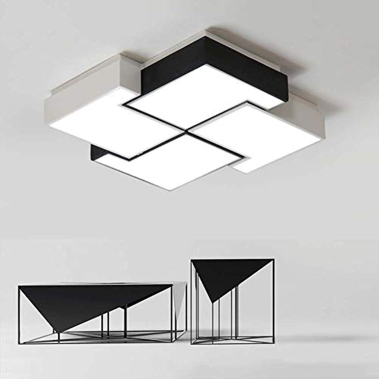 独立物理的にモンスターLEDシーリングライト、モダンなスクエアフラッシュマウントシーリング照明器具、調光可能な金属+アルミニウム寝室のリビングルーム照明用シーリングランプに近い、白+黒[エネルギークラスA ++] (Color : Stepless dimming, Size : 60x60cm)
