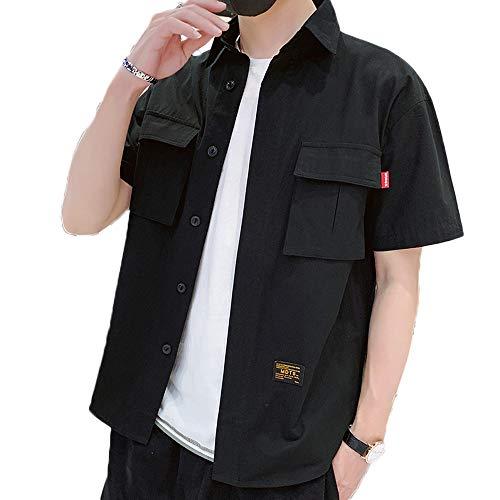 2019夏服 半袖 シャツ メンズ カジュアル 無地 オックスフォードシャツ 綿 100% スポーツ 半袖 夏服 オシャレ