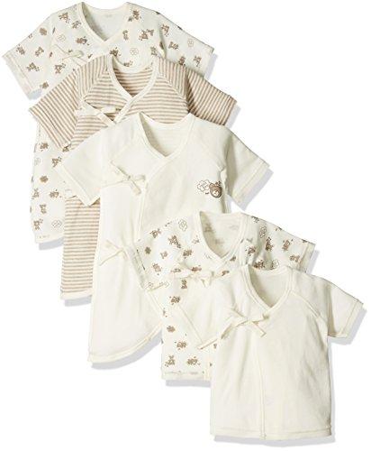 Skip House(スキップハウス) 【オーガニックコットン】新生児肌着5枚組 くま柄 50cm - 60cm キナリ 綿100% RNB-1