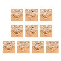招待状セット 10枚 招待状カード DIYカード 封筒シール 高品质 婚約 結婚式 誕生日パーティー 全3選択 - ベージュ