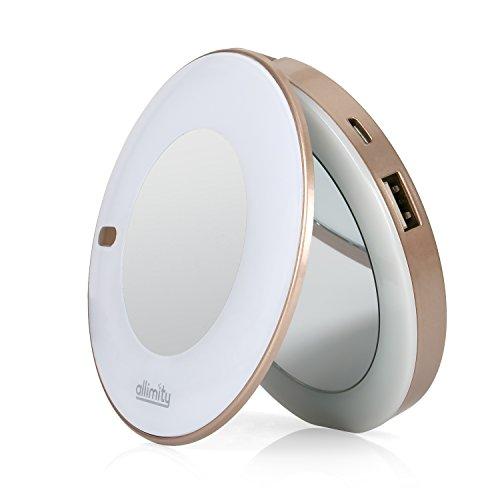 化粧鏡 モバイルバッテリー allimity LEDライト付...