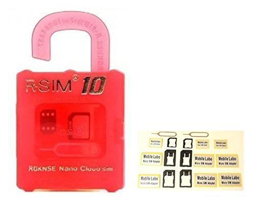 Mobile Labo【Amazon即日出荷 】SIMロック解除アダプタ for iPhone6/6Plus/5S/5G/4S & 落下防止機能付 Sim変換アダプタ 3点セット 2セット + Mobile Labo アダプターシール9回分 2枚 セット rsim10/r-sim10/ R-SIM10 R-SIM 赤+MB2S