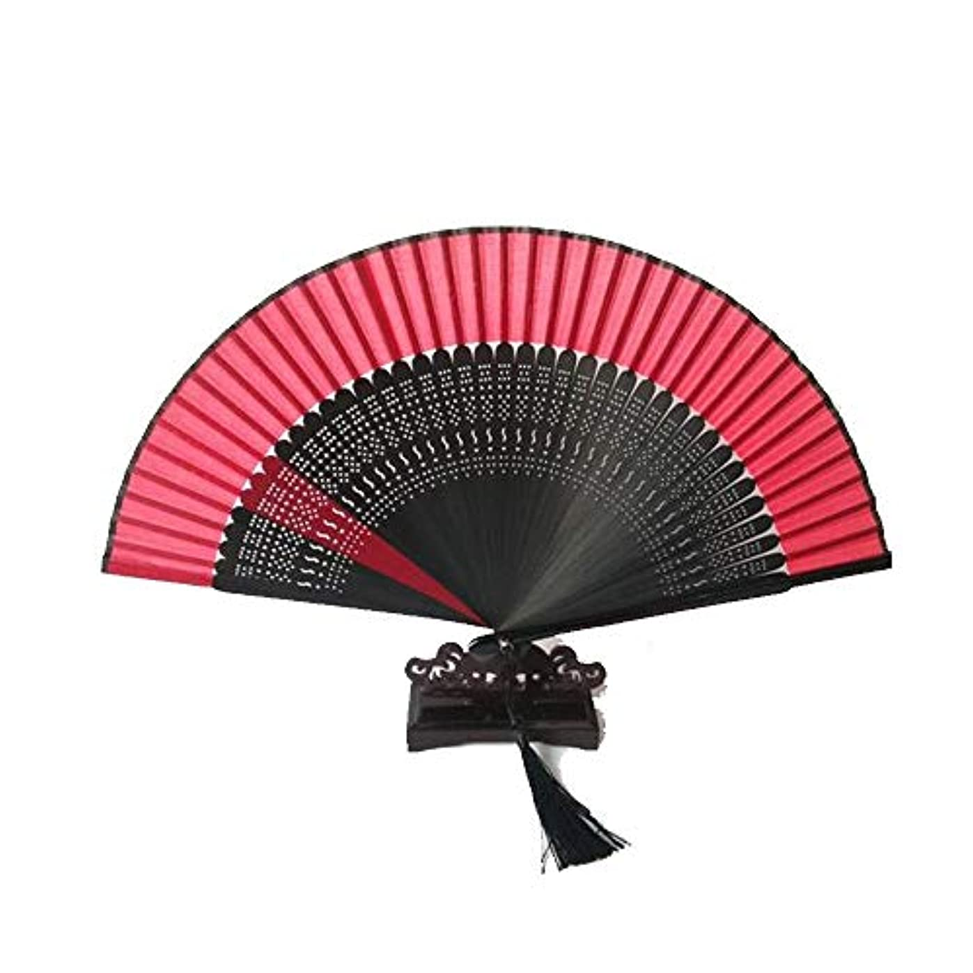 トレッドアルバムいらいらするQIANZICAI ファン、中国風の竹ファン、中空扇子、ホームアクセサリー、ダンスの小道具、サイズ21cmの折りたたみ。 ファン (Color : Black- E)