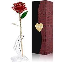 24Kゴールド ローズフラワー 人工ローズ ギフトボックスと透明スタンド付き バレンタイン、母の日、記念日、誕生日、姉妹へのギフトに 永遠のデコレーションに レッド