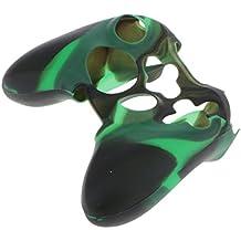 【ノーブランド品】Xbox 360用 コントローラカバー 保護ケース 交換用 シリコン 黒と緑