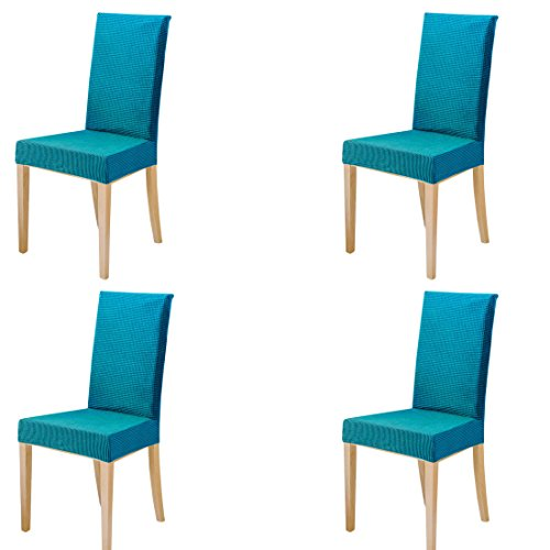 ILIJUN 1枚 4枚 セット 椅子カバー チェアカバー 伸縮素材 選べる 8色 (4枚, 青)
