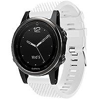 Garmin(ガーミン) Fenix 5s 交換用バンド Comtax 20mm高級 シリコーン製腕時計ストラップ/バンド 交換ベルトor Garmin(ガーミン) Fenix 5s   (ホワイト)