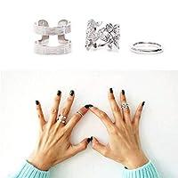 Weiy 3本パンクナックルリングセットファッション魅力的なヴィンテージスタイリッシュスタッキングリング女性のための指ミディリングセット女の子ジュエリーアクセサリーギフト
