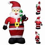 エアーディスプレイ エアーサンタクロース LED付き 120cm 光るサンタクロース エアーブロードール 膨張式 空気充填 クリスマスエアブロー装飾 パーティー 屋外設置可能 (120cm)