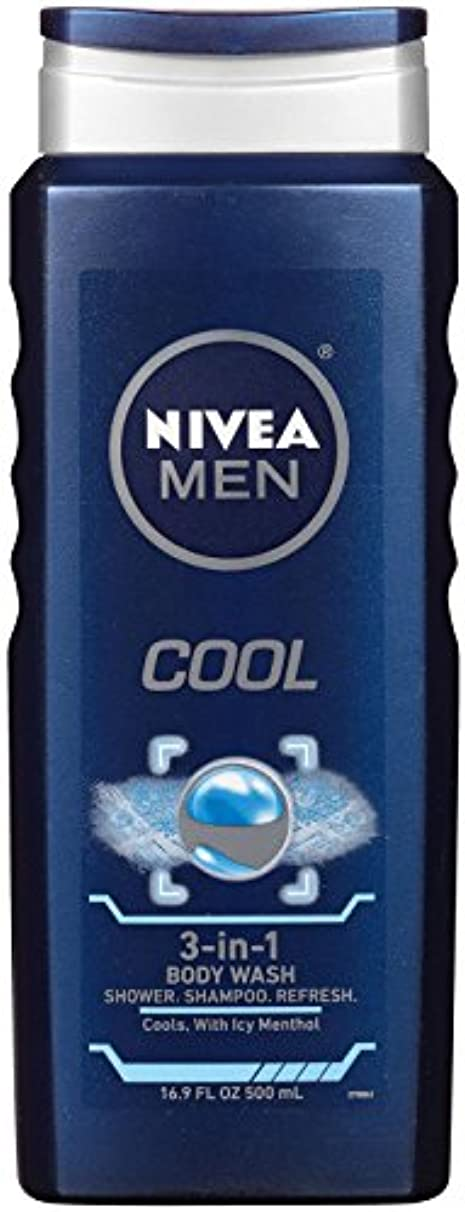 コンデンサー最初に最少Nivea, 3-in-1 Body Wash, Men, Cool, 16.9 fl oz (500 ml)